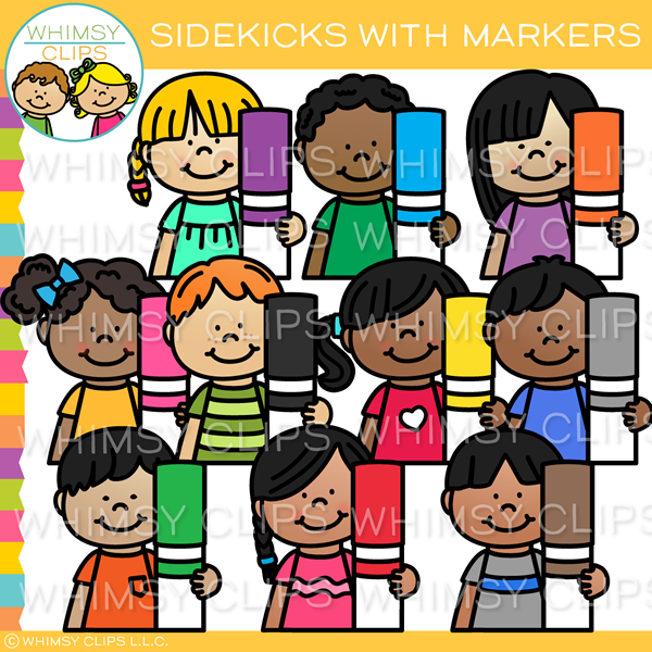 Sidekicks with Markers Clip Art