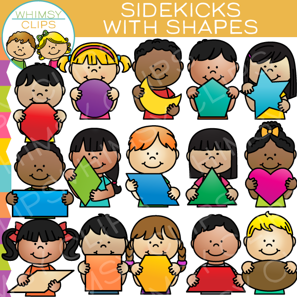 Sidekicks with 2D Shapes Clip Art