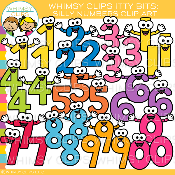 Colorful Silly Numbers Clip Art