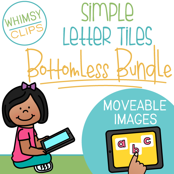 Simple Letter Tiles Clip Art BOTTOMLESS Bundle - Moveable Images