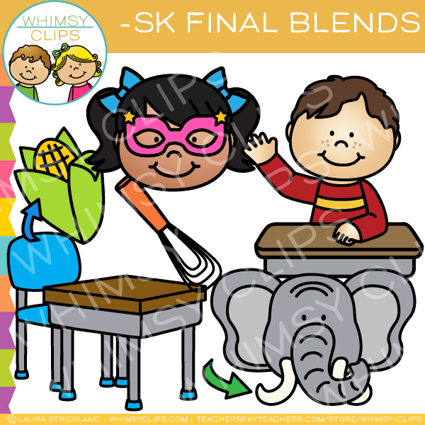 Ending Blends Clip Art - Sk Words