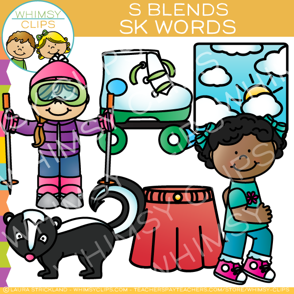 S Blends Clip Art - Sk Words
