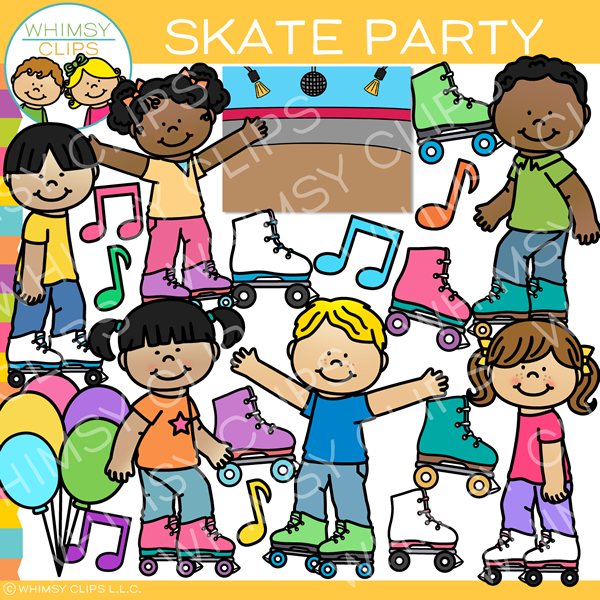 Skate Party Clip Art