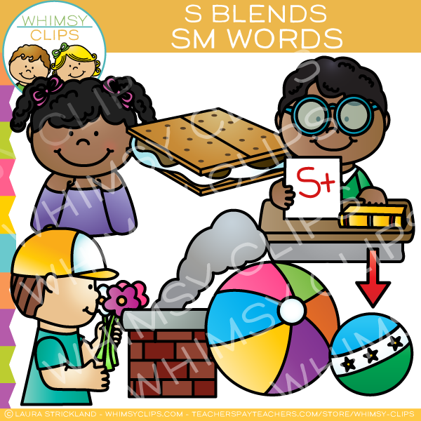 S Blends Clip Art  - SM Words