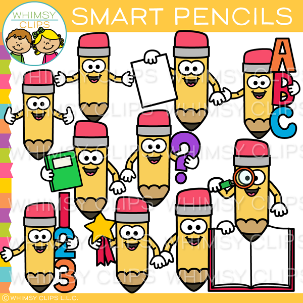 Smart School Pencils Clip Art