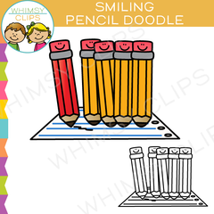 Smiling Pencil Doodle Clip Art