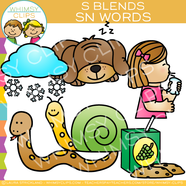 SN Words - S Blends Clip Art