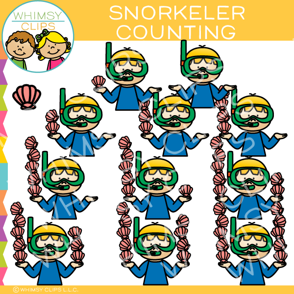 Snorkeler Counting Clip Art