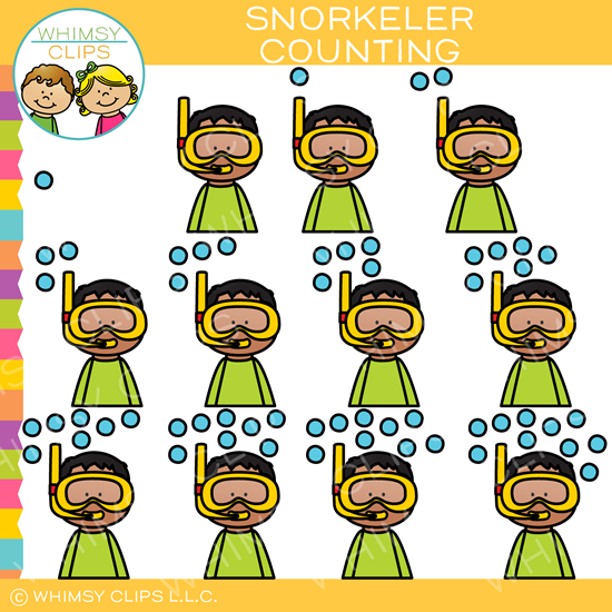 Snorkeler Counting Bubbles Clip Art