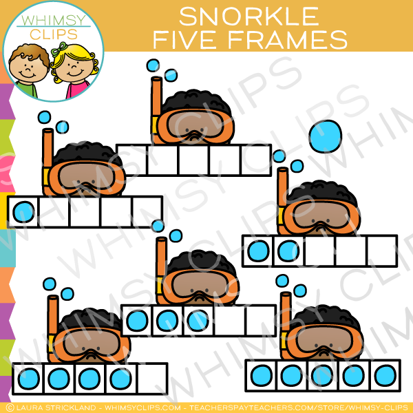 Five Frames of Snorkel Clip Art