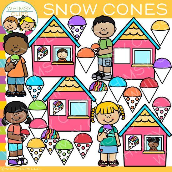 Colorful Snow Cones Clip Art