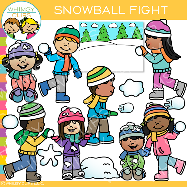 Winter Snowball Fight Clip Art