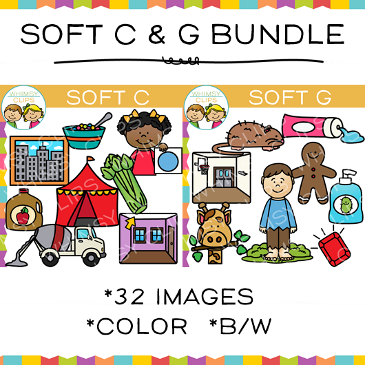 Soft C and Soft G Clip Art Bundle