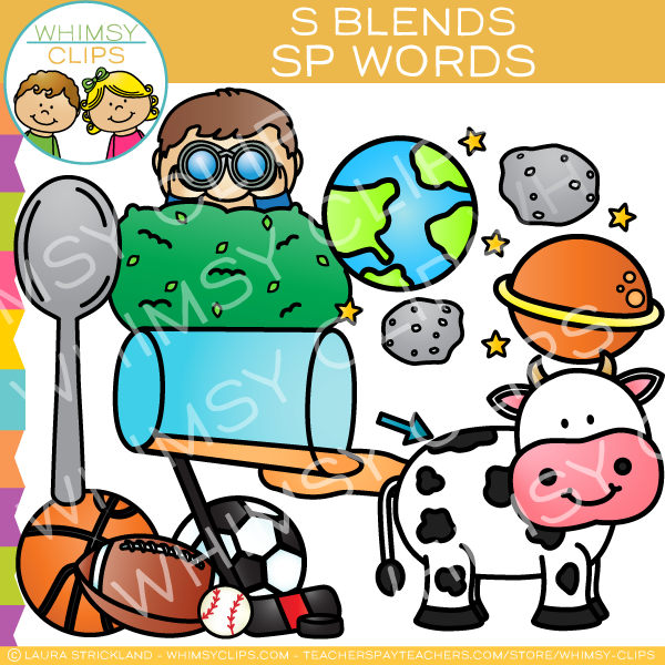 S Blends Clip Art - SP Words