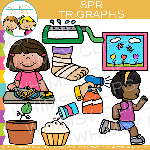 Beginning Trigraphs  Clip Art - SPR Words