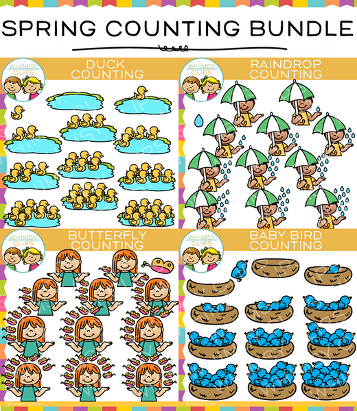 Spring Counting Clip Art Bundle