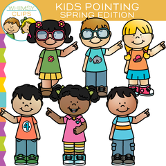 Spring Kids Pointing Clip Art