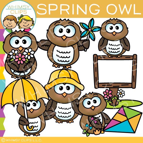 Cute and Adorable Spring Owl Clip Art
