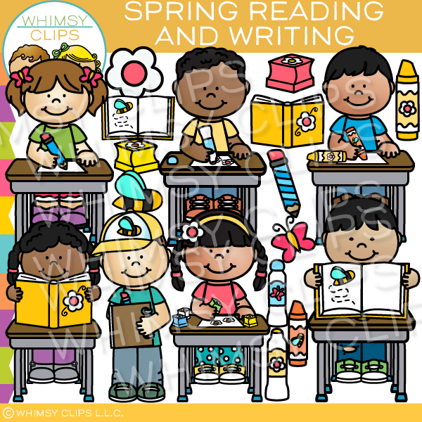 Kids Spring Reading and Writing Clip Art