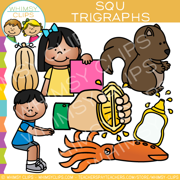 Beginning Trigraphs  Clip Art - SQU Words
