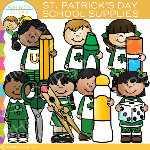 Saint Patrick's Day School Supplies Clip Art