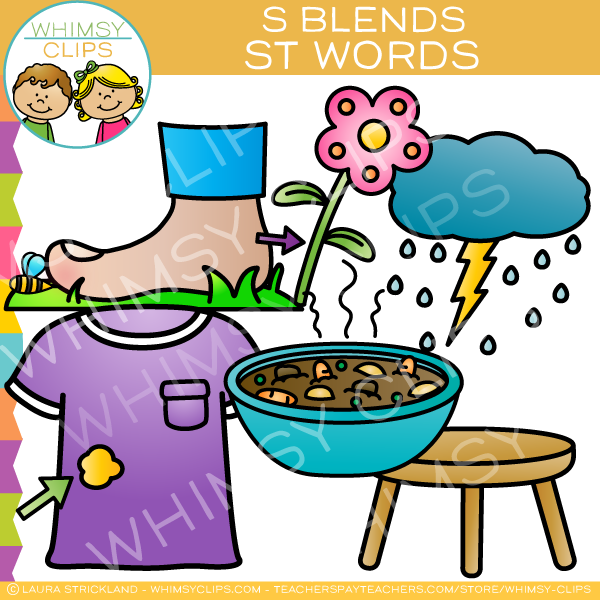 S Blends Clip Art - ST Words