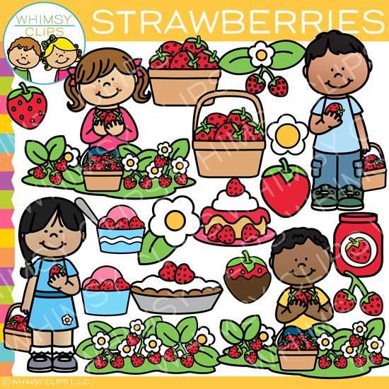 Kids in the Strawberry Patch Clip Art