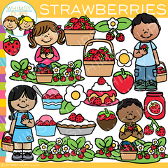 Kids Picking Strawberries Clip Art