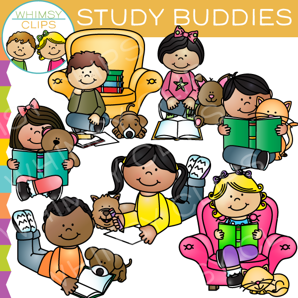 Kids Studying With Pets Clip Art