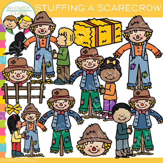 Stuffing a Scarecrow Clip Art