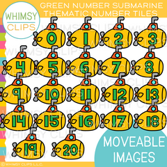 Thematic Green Number Submarine Tiles Clip Art - MOVEABLE Clip Art