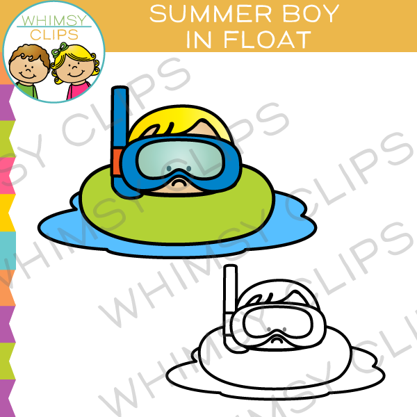 Summer Boy in a Float Clip Art