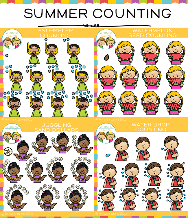 Summer Counting Clip Art Bundle