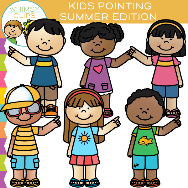 Summer Kids Pointing Clip Art