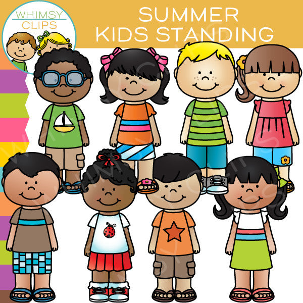 Kids Standing Clip Art - Summer Edition