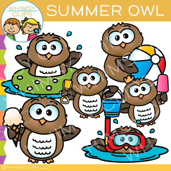 Fun and Colorful Summer Owl Clip Art