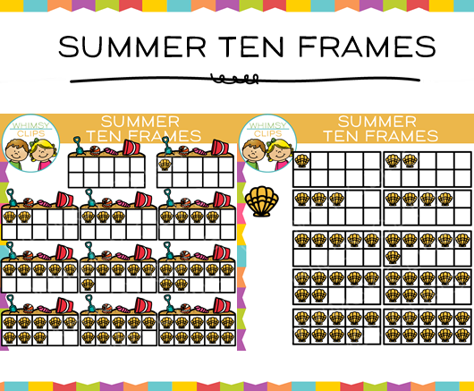 Summer Ten Frames Clip Art