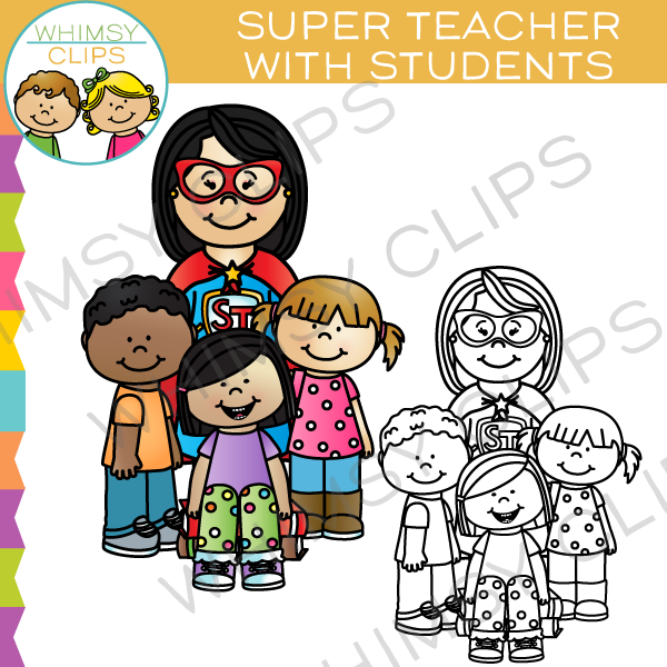 Super Teacher with Students Clip Art