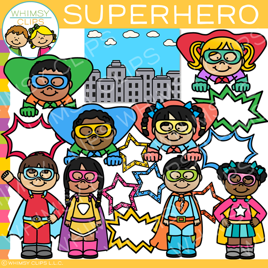 Superhero Kids Clip Art