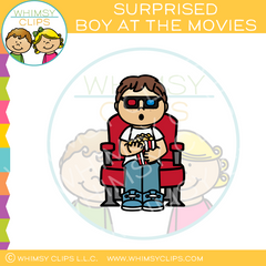 Surprised Boy Watching 3D Movie Clip Art