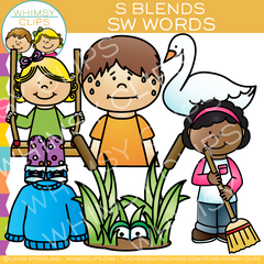 S Blends Clip Art - SW Words