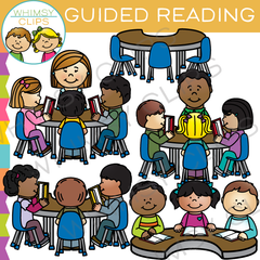 Kids Group Guided Reading Clip Art