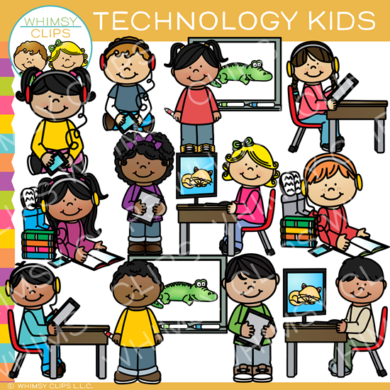 Technology Kids Clip Art
