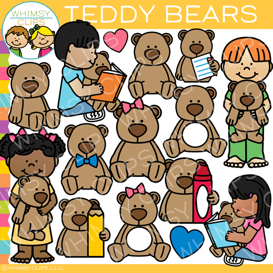 Kids with Teddy Bears Clip Art