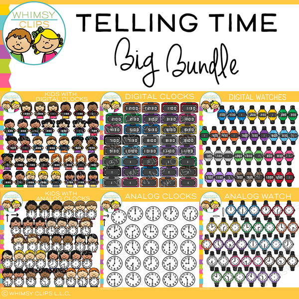 Telling Time Clip Art Big Bundle