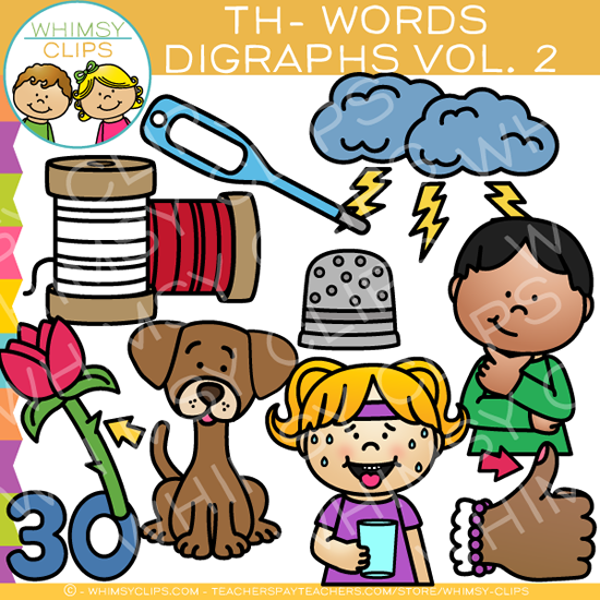 Beginning Th-Words  Clip Art - Digraphs Volume Two