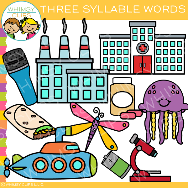 Three Syllable Words Clip Art