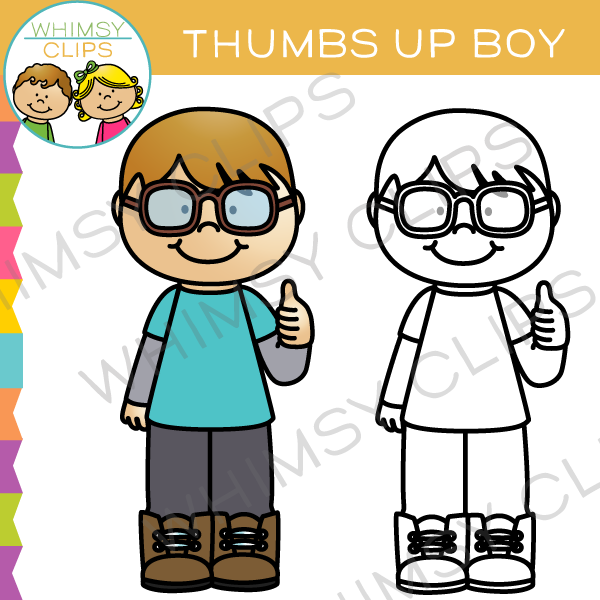 Thumbs up boy. Clip art