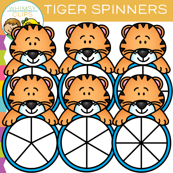 Cute and Colorful Tiger Spinners Clip Art