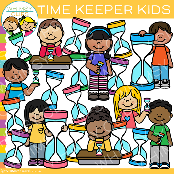 Kids with Sand Timers Clip Art